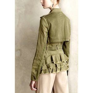 Anthro Hei Hei Ruffle Back Olive Jacket XS